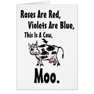 Tarjeta Los rosas son Rojo-Estos son un interior Vaca-En