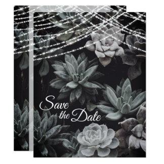 Tarjeta Los Succulents y las luces ahorran el boda de la