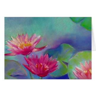 Tarjeta Los waterlilies de la charca de las flores de