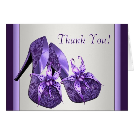 Tarjeta Los zapatos púrpuras del tacón alto le agradecen