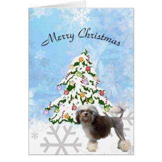 Tarjeta Löwchen con el árbol de navidad en cristal azul