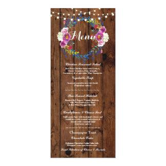 Tarjeta Luces florales de madera rústicas de la recepción