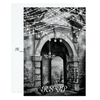 Tarjeta Luces románticas y arcada gótica que casan RSVP