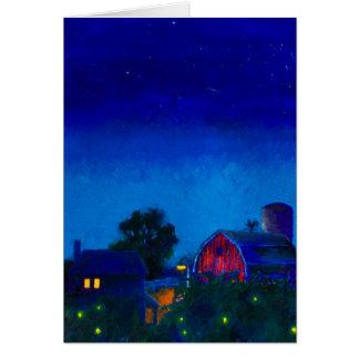 Tarjeta Luciérnagas y cielos nocturnos