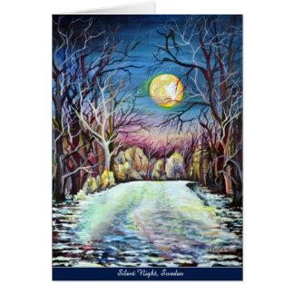 Tarjeta Luna Llena del invierno silencioso de la noche