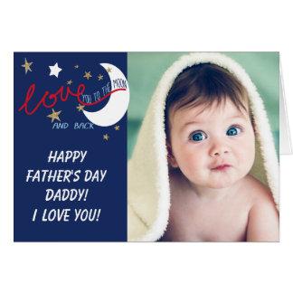 Tarjeta Luna y trasero el día de padres del amor usted