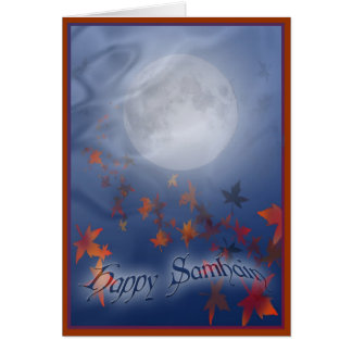 Tarjeta Luna y velo felices de Samhain