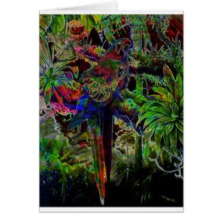 Tarjeta Macaws en paraíso tropical en la noche