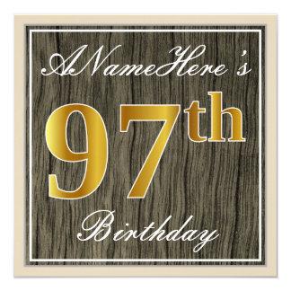 Tarjeta Madera elegante, falsa, 97.o cumpleaños del falso