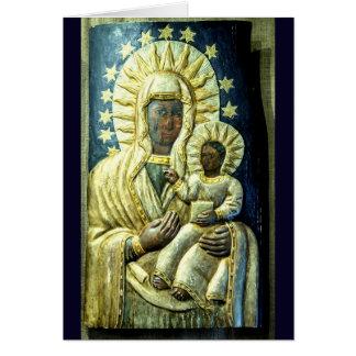 Tarjeta Madera negra de Madonna que talla el sello del