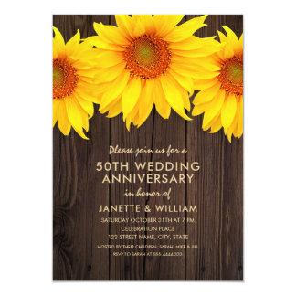 Tarjeta Madera rústica del aniversario de boda del girasol