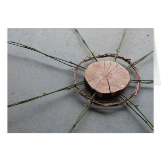 Tarjeta Madera y bambú derechos de la forma 1 del círculo