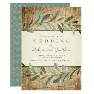 Tarjeta Maderas botánicas de las vides rústicas que casan
