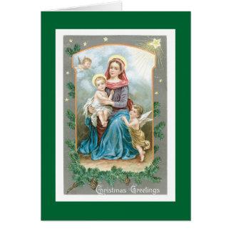 Tarjeta Madonna con el niño y los ángeles de Cristo