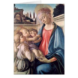 Tarjeta Madonna y bella arte de Botticelli de los ángeles