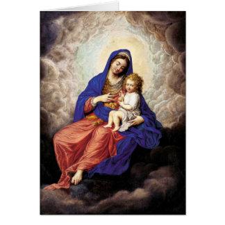 Tarjeta Madonna y niño en gloria