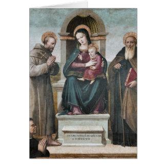 Tarjeta Madonna y niño Enthroned con los santos