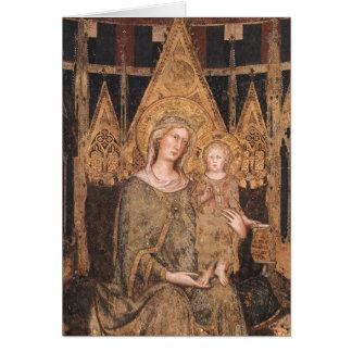 Tarjeta Madonna y niño góticos