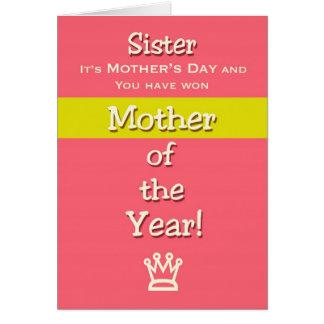 Tarjeta Madre del humor de la hermana del día de madre del