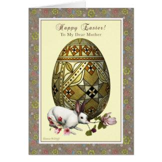 Tarjeta Madre Pascua feliz - huevo y conejito