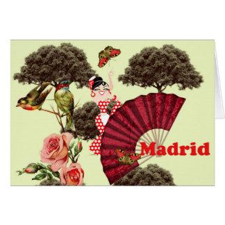 Tarjeta Madrid rosas, pajaritos y un abanico