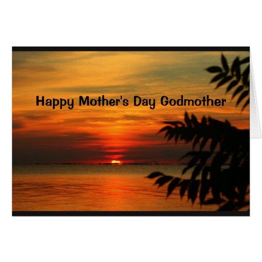 Tarjeta Madrina feliz del día de madre de la puesta del