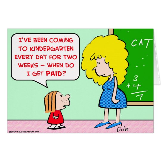Tarjeta maestro de jardín de infancia pagado