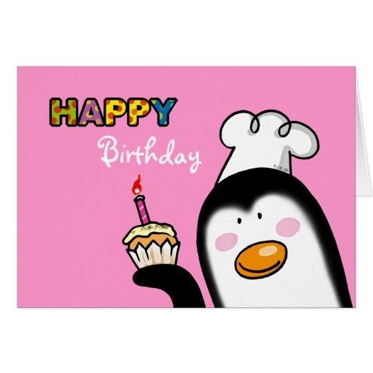 Tarjeta Magdalena del pingüino del feliz cumpleaños