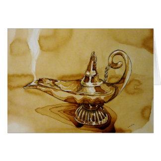 Tarjeta mágica del arte del café de la lámpara