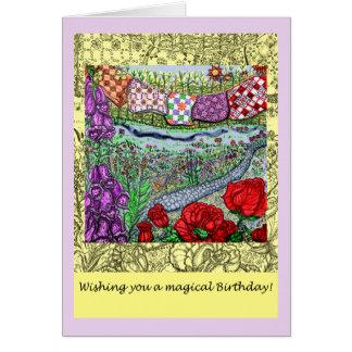 Tarjeta mágica del deseo del cumpleaños del jardín
