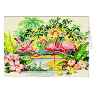 Tarjeta Mahalo hawaiano le agradece los flamencos de la