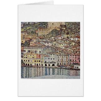 Tarjeta Malcesine en el lago Garda de Gustavo Klimt