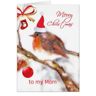 Tarjeta mamá de las Felices Navidad, ornamento rojo del