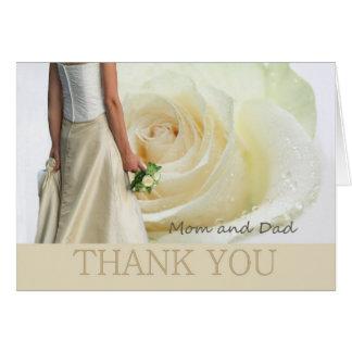 Tarjeta Mamá + El boda del papá le agradece el rosa blanco