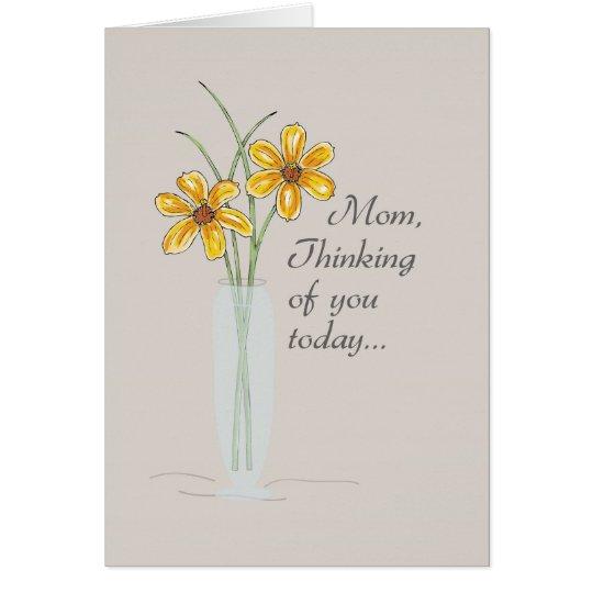 Tarjeta Mamá, pensando en usted florero dos