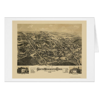Tarjeta Manchester del sur, mapa panorámico del CT - 1880