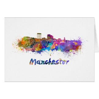 Tarjeta Manchester NH skyline in watercolor
