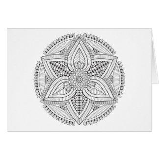 Tarjeta Mandala blanco y negro hermosa para colorear