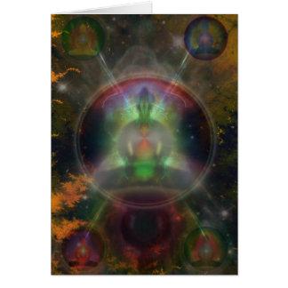 Tarjeta Mandala de cinco Buda