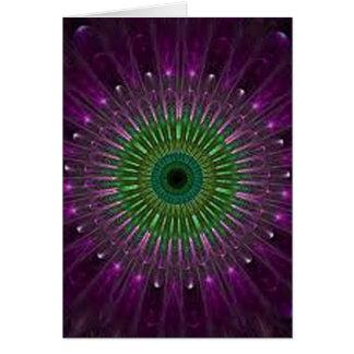 Tarjeta Mandala púrpura y verde