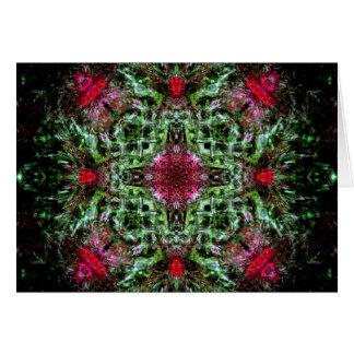 Tarjeta Mandala roja y verde