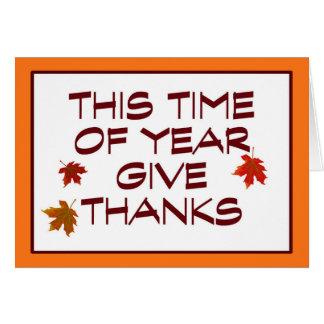 Tarjeta Manera de la acción de gracias