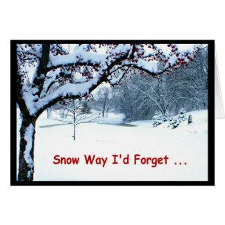 Tarjeta ¡Manera de la nieve que olvidaría desearle Felices