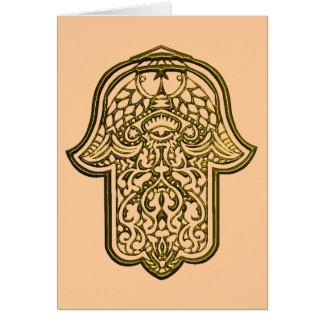 Tarjeta Mano de la alheña de Hamsa (de oro)