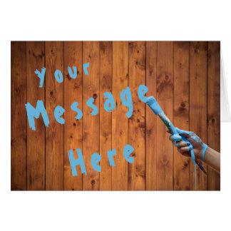 Tarjeta Mano genérica del mensaje de la secoya que pinta