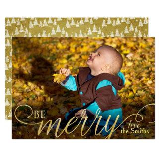 Tarjeta Mano moderna del navidad escrita Photocard de oro