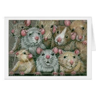 Tarjeta Manojo de ratas en la reunión Notecard de Rattie