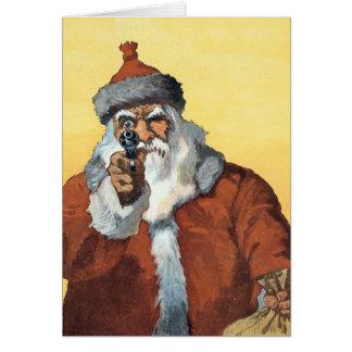 Tarjeta ¡Manos para arriba! - Como Papá Noel mira a