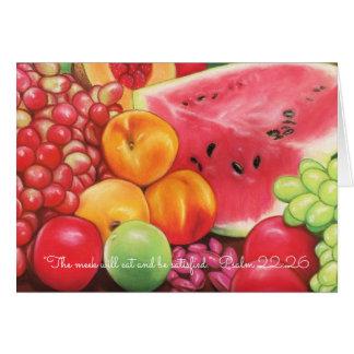 Tarjeta Manso coma y sea pasteles de la fruta de