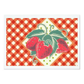 Tarjeta Mantel a cuadros blanco rojo de la comida